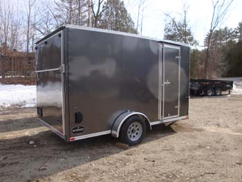 Integrity True Line V Nose 7'X12' Single Axle W/ Brakes Gvwr 3500#, Ramp Door, Charcoal